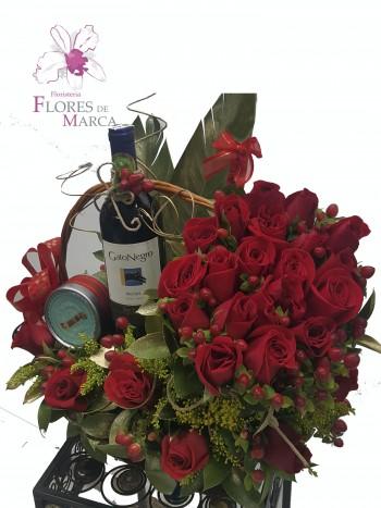 Rosas Rojas con Vino mas adiccion